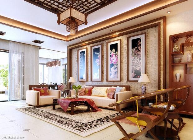 中式客厅装修效果图 享受古典雅致空间