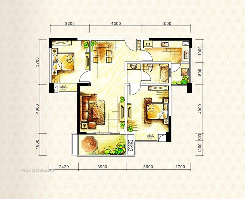 90平方房屋设计图 90平方小三房户型图大全图片