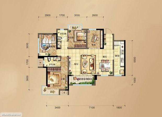 【房屋设计图】10款经典90平米户型图 90平方房屋设计图片