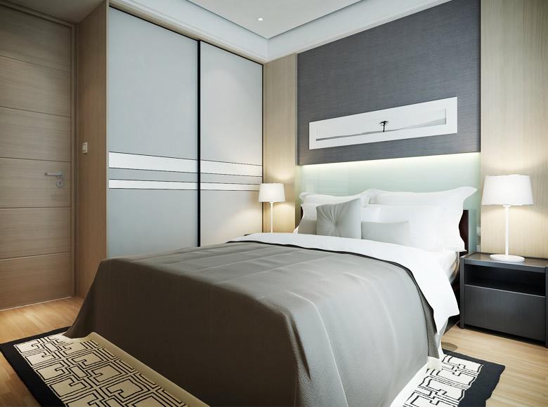 现代简约卧室装修效果图 现代房间设计图片欣赏